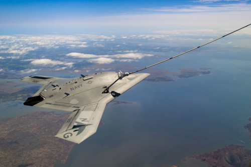 US Navy's X-47B, AV-2, Bureau # 168064, of Air Test and Evaluation Squadron Two Three (VX-23), conduct Air-to-Air Refueling (AAR) over the Chesapeake Bay on 16 April 2015.  VX-23 is part of the Naval Test Wing Atlantic in Naval Air Station Patuxent River,