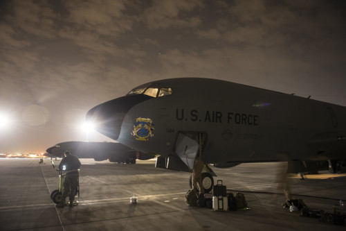 A U.S. Air Force  KC-135 Stratotanker, assigned to the 340th Expeditionary Air Refueling Squadron sits on the flightline after flying a mission over the Arabian Sea at Al Udeid Air Base, Qatar, Jan. 27, 2016. Coalition forces fly daily missions in support of Operation Inherent Resolve. OIR is the coalition intervention against the Islamic State of Iraq and the Levant. (U.S. Air Force photo by Staff Sgt. Corey Hook/Released)