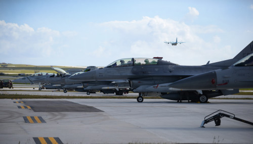 F-16 Fighting Falcons assigned to the 13th Fighter Squadron, Misawa Air Base, Japan, lineup on the flightline in preparation for a mission Feb. 4, 2016, at Andersen Air Force Base, Guam. Several F-16 Fighting Falcons from the 13th FS are deployed to Andersen AFB in support of Cope North 2016. Cope North's large force employment training with allies strengthens free access to the global commons by enhancing air superiority, interdiction, electronic warfare, tactical airlift and aerial refueling. (U.S. Air Force photo/Senior Airman Joshua Smoot)