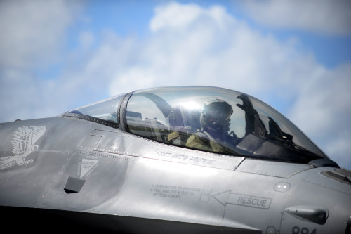 1st Lt. Dave Takahashi, a 13th Fighter Squadron pilot from Misawa Air Base, Japan, prepares for takeoff Feb. 4, 2016, at Andersen Air Force Base, Guam. Several F-16 Fighting Falcons from the 13th FS are deployed to Andersen AFB in support of Cope North 2016. The annual training event provides an opportunity to test and develop more agile and flexible command and control systems among U.S. and allied forces. (U.S. Air Force photo/Senior Airman Joshua Smoot)