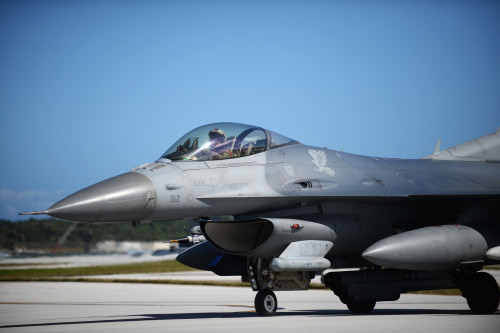 Capt. Philip Downing, a 13th Fighter Squadron pilot from Misawa Air Base, Japan, taxis an F-16 Fighting Falcon onto the runway Feb. 4, 2016, at Andersen Air Force Base, Guam. Several F-16s from the 13th FS are deployed to Andersen AFB in support of Cope North 2016. Cope North is an annual event that focuses on humanitarian assistance and disaster relief and large force employment in an effort to enhance interoperability among forces from the U.S., Japan, Australia, South Korea, Philippines and New Zealand. (U.S. Air Force photo/Senior Airman Joshua Smoot)
