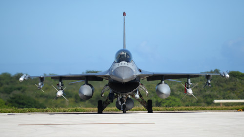 An F-16 Fighting Falcon pilot assigned to the 13th Fighter Squadron, Misawa Air Base, Japan, performs preflight checks Feb. 4, 2016, at Andersen Air Force Base, Guam. Several F-16 Fighting Falcons from the 13th FS are deployed to Andersen AFB in support of Cope North 2016. Cope North enhances U.S. relations with regional allies and partners by demonstrating the U.S. Air Force's resolve to promote security and stability throughout the Indo-Asia-Pacific. (U.S. Air Force photo/Senior Airman Joshua Smoot)