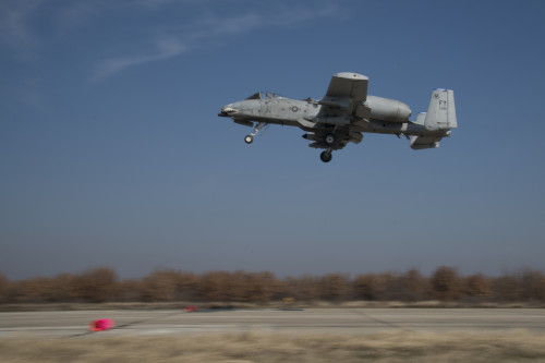 A 74th Expeditionary Fighter Squadron A-10C Thunderbolt II aircraft performs a low-level flyover of an austere landing site at Plovdiv, Bulgaria, Feb. 9, 2016. The aircraft deployed to Bulgaria in support of Operation Atlantic Resolve to bolster air power capabilities while assuring the U.S. commitment to European security and stability. (U.S. Air Force photo by 1st Lt Chris Sullivan/Released)