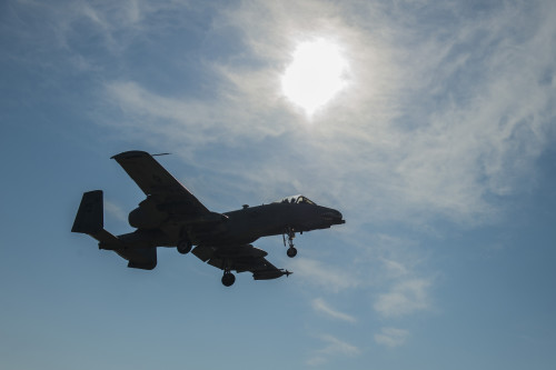 A 74th Expeditionary Fighter Squadron A-10C Thunderbolt II aircraft flies overhead during an austere landing training exercise at Plovdiv, Bulgaria, Feb. 9, 2016. The aircraft deployed to Bulgaria in support of Operation Atlantic Resolve to bolster air power capabilities while assuring the U.S. commitment to European security and stability. (U.S. Air Force photo by Airman 1st Class Luke Kitterman/Released)