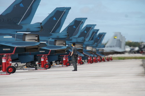 A Japanese Air Self-Defense Force maintainer conducts pre-flight checks on JASDF F-2 aircraft from the 3rd Fighter Squadron during Cope North 16, Andersen Air Force Base, Guam, Feb. 11, 2016. Japanese forces are among the 22 total flying units and nearly 3,000 personnel from six countries participating in CN16. The exercise aims to grow strength, interoperability and beneficial relationships within the Indo-Asia-Pacific region through integration of airborne and land-based command and control assets. (Japanese Air Self-Defense Force photo by Master Sgt. Yumi Kanai/Released)