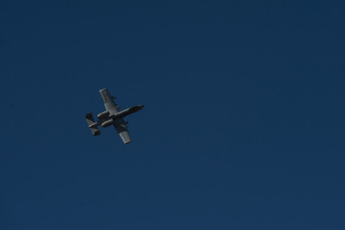 A 74th Expeditionary Fighter Squadron A-10C Thunderbolt II aircraft soars through the air during a training exercise at Plovdiv, Bulgaria, Feb. 11, 2016. The aircraft deployed to Bulgaria in support of Operation Atlantic Resolve to bolster air power capabilities while assuring the U.S. commitment to European security and stability. (U.S. Air Force photo by Airman 1st Class Luke Kitterman/Released)