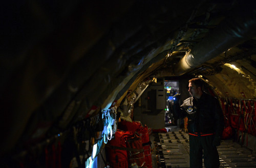 U.S. Air Force Capt. Scott Carlan, 351st Expeditionary Air Refueling Squadron KC-135 Stratotanker pilot, performs pre-flight inspections before departing Istres-Le Tubé Air Base, France, Feb. 26, 2016. Airmen arrived in France the previous week to continue to provide air refueling and airlift support of French operations in Mali and North Africa in support of Operation Juniper Micron. (U.S. Air Force photo by Senior Airman Erin Trower/Released)