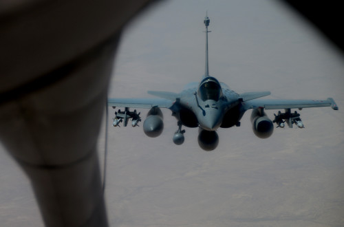 A French Dassault Rafale fighter aircraft flies toward a KC-135 Stratotanker assigned to RAF Mildenhall, England, during a refueling mission in support of Operation Juniper Micron over North Africa, Feb. 26, 2016. Three KC-135 Stratotankers, along with 50 Airmen from the 100th Air Refueling Wing, are providing air refueling and airlift support to French operations in Mali and North Africa in support of OJM. (U.S. Air Force photo by Senior Airman Erin Trower/Released)
