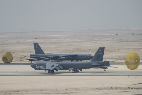 U.S. Air Force B-52 Stratofortress aircraft from Barksdale Air Force Base, Louisiana, arrived at Al Udeid Air Base, Qatar, April 9, 2016 in support of Operation Inherent Resolve, the operation to eliminate Da'esh and the threat they pose to Iraq, Syria and the wider international community, and as needed in the region. The B-52 offers diverse capabilities including the delivery of precision weapons. (U.S. Air Force photo by Staff Sgt. Corey Hook/Released)
