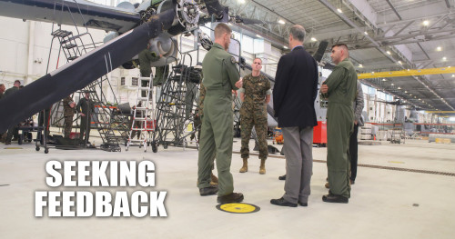 Rep. Mac Thornberry, center-right, discusses maintenance and readiness issues with Marines from Marine Medium Tiltrotor Squadron 264 at Marine Corps Air Station New River, N.C., March 18, 2016. Thornberry also serves as the Chairman of the House Armed Services Committee, and met with units from across II Marine Expeditionary Force to discuss force-related topics. (U.S. Marine Corps photo illustration by Cpl. Lucas Hopkins/Released)