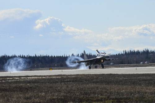 An Indian Air Force Su-30MKI fighter aircraft lands at Eielson Air Force Base, Alaska, April 16, 2016. Indian Air Force airmen arrived at Eielson in preparation for RED FLAG-Alaska 16-1. RF-A is a series of Pacific Air Forces commander-directed field training exercises for U.S. and partner nation forces, providing combined offensive counter-air, interdiction, close air support and large force employment training in a simulated combat environment. (U.S. Air Force photo by Staff Sgt. Joshua Turner)