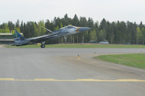 The 173rd Fighter Wing flagship touches down at Rissala Air Base, Finland during a joint training exercise that is part of Operation Atlantic Resolve, May 10, 2016. The distinctive paint scheme was developed by the unit and commemorates the 75th Anniversary of the Oregon Air National Guard. (U.S. Air National Guard photo by Tech. Sgt. Jefferson Thompson/released)