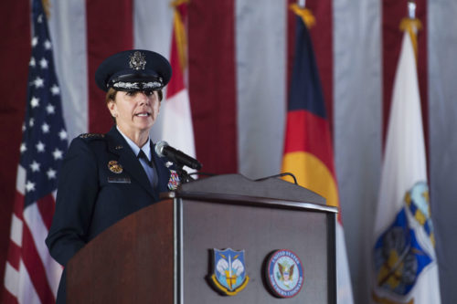Air Force Gen. Lori Robinson delivers remarks after assuming command of North American Aerospace Defense and U.S. Northern Command during a change of command ceremony between Adm. Bill Gortney and herself at Peterson Air Force Base, Colo., May 13, 2016 . (Photo by Senior Master Sgt. Adrian Cadiz)(Released)