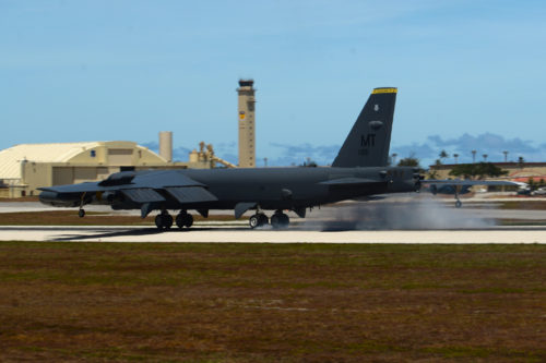 A B-52 Stratofortress from Minot Air Force Base, ND, prepares to touchdown June 2, 2016, at Andersen Air Force Base, Guam. The aircraft is deployed in support of U.S. Pacific Command's Continuous Bomber Presence operations. These deployments provide opportunities to advance and strengthen alliances as well as strengthen long-standing military-to-military partnerships. (U.S. Air Force photo by Airman 1st Class Alexa Ann Henderson/Released)