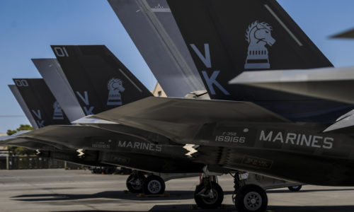 F-35Bs, assigned to the 3rd Marine Aircraft Wing, Marine Corps Air Station Yuma, Az., sit on the flightline during Red Flag 16-3 at Nellis Air Force Base, Nev., July 12, 2016. This Red Flag marks the first time Marine F-35s will be participating in Red Flag. (U.S. Air Force photo by Airman 1st Class Kevin Tanenbaum)