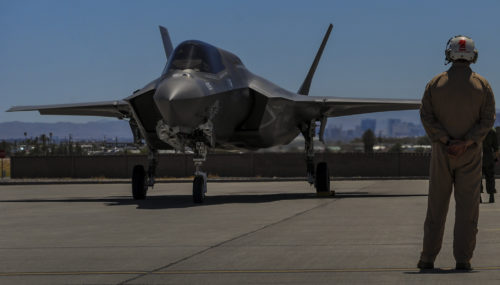 An F-35B, assigned to the 3rd Marine Aircraft Wing, Marine Corps Air Station Yuma, Az., prepares to take off during Red Flag 16-3 at Nellis Air Force Base, Nev., July 12, 2016. Air-to-air combat training exercise is conducted over the 2.9 million acre Nevada Test and Training Range during Red Flag. (U.S. Air Force photo by airman 1st Class Kevin Tanenbaum)