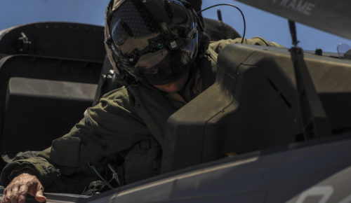 A Marine F-35B pilot, assigned to the 3rd Marine Aircraft Wing, Marine Corps Air Station Yuma, Az., preforms pre-flight inspections to his aircraft before take-off during Red Flag 16-3 at Nellis Air Force Base, Nev., July 12, 2016. Red Flag missions are conducted on the 2.9 million acres Nevada Test and Training Range with 1,900 possible targets, realistic threat systems and opposing enemy forces. (U.S. Air Force photo by Airman 1st Class Kevin Tanenbaum)
