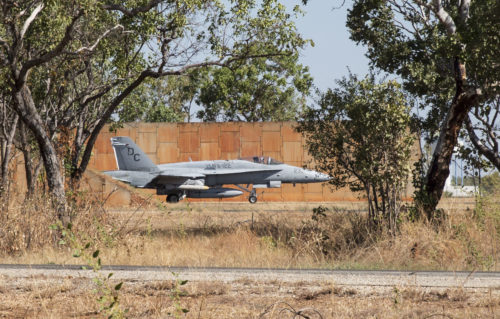 An F/A-18C Hornet with Marine Fighter Attack Squadron (VMFA) 122 prepares to taxi during Southern Frontier at Royal Australian Air Force Base Tindal, Australia, Aug. 24, 2016. VMFA-122 conducted close air support missions in support of units on the ground at Bradshaw Range Complex during the unit level training. Southern Frontier is a three week training evolution geared toward helping the flying squadron gain qualifications and experience in low altitude, air ground, high explosive ordnance delivery. (U.S. Marine Corps photo by Cpl. Nicole Zurbrugg)