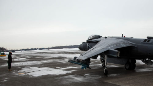 A U.S. Marine Corps AV-8B Harrier with Marine Attack Squadron (VMA) 542 taxis to the runway during the Aviation Relocation Training Program at Chitose Air Base, Japan, Dec. 14, 2016. VMA-542 is conducting training at Chitose Air Base in an effort to increase operational readiness between the U.S. Marine Corps and the Japan Air Self Defense Force, improve interoperability and reduce noise concerns of aviation training on local communities by disseminating training locations throughout Japan. (U.S. Marine Corps photo by Cpl. James A. Guillory)