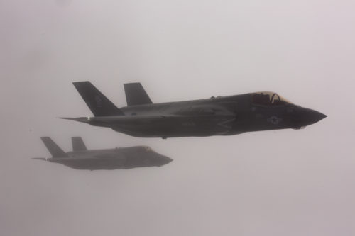 NORTH PACIFIC OCEAN—Marine Corps F-35Bs from Marine Fighter Attack Squadron (VMFA) 121, 3rd Marine Aircraft Wing, transit the Pacific from Marine Corps Air Station Yuma, Ariz., to Joint Base Elmendorf-Richardson, Alaska, Jan. 9, 2017, with its final destination of Iwakuni, Japan, to join 1st Marine Aircraft Wing. VMFA-121, originally an F/A-18 squadron was re-designated as the Marine Corps' first F-35 squadron in 2012. (U.S. Marine Corps photo by Sgt. Lillian Stephens)