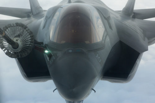NORTH PACIFIC OCEAN—An F-35B F-35 Lightning II from Marine Fighter Attack Squadron (VMFA) 121, 3rd Marine Aircraft Wing, refuels in flight while transiting the Pacific from Marine Corps Air Station Yuma, Ariz., to Joint Base Elmendorf-Richardson, Alaska, Jan. 9, 2017, with its final destination of Iwakuni, Japan, to join 1st Marine Aircraft Wing. VMFA-121, originally an F/A-18 squadron was re-designated as the Marine Corps' first F-35 squadron in 2012. (U.S. Marine Corps photo by Sgt. Lillian Stephens)