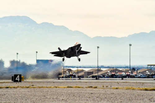 F-35A Lightning IIs piloted by the 388th and 419th Fighter Wings taxi toward the runway, Jan. 20 for Nellis AFB, Nev., to participate in a Red Flag exercise. Red Flag is the U.S. Air Force's premier air-to-air combat training exercise. This is the first deployment to Red Flag since the Air Force declared the jet combat ready in August 2016. (U.S. Air Force photo/R. Nial Bradshaw)