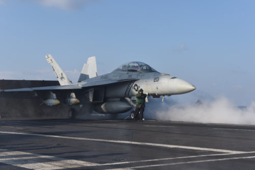 170213-N-YL257-027 MEDITERRANEAN SEA (Feb. 13, 2017) Capt. Jim McCall, commander, Carrier Air Wing 8, launches an F/A-18F Super Hornet attached to the Black Lions of Strike Fighter Squadron (VFA) 213 from the aircraft carrier USS George H.W. Bush (CVN 77) in support of Operation Inherent Resolve. The George H.W. Bush Carrier Strike Group is conducting naval operations in the U.S. 6th Fleet area of operations in support of U.S. national security interests. (U.S. Navy photo by Mass Communication Specialist 3rd Class Christopher Gaines/Released)
