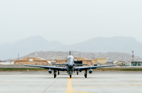 Four A-29 Super Tucanos arrive in Kabul, Afghanistan, March 20, 2017, before the beginning of the 2017 fighting season. The aircraft will bolster the Afghan Air Force's inventory from eight to 12 A-29s in country. Airmen from Train, Advise, Assist Command-Air, as part of Resolute Support Mission, work in tandem with their Afghan counterparts fostering a working relationship and fortifying confidence in the mission. (U.S. Air Force photo by Senior Airman Jordan Castelan)