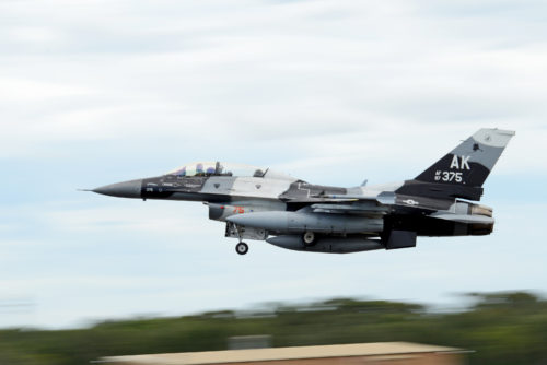 A U.S. Air Force F-16 Fighting Falcon takes off from Royal Australian Air Force Base Williamtown, during Exercise Diamond Shield 2017 in New South Wales, Australia, March 21, 2017. (U.S. Air Force photo by Tech. Sgt. Steven R. Doty)