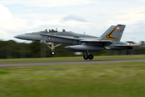 A Royal Australian Air Force F-18A Hornet takes off from RAAF Williamtown, during Exercise Diamond Shield 2017 in New South Wales, Australia, March 21, 2017. (U.S. Air Force photo by Tech. Sgt. Steven R. Doty)