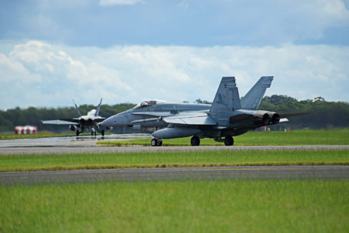 Royal Australian Air Force F-18A Hornets taxi at RAAF Williamtown, during Exercise Diamond Shield 2017 in New South Wales, Australia, March 21, 2017. (U.S. Air Force photo by Tech. Sgt. Steven R. Doty)