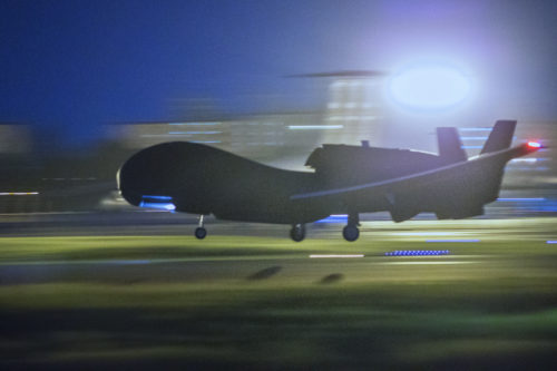 An RQ-4 Global Hawk assigned to the 69th Reconnaissance Group Detachment 1 takes off at Yokota Air Base, Japan, May 5, 2017. This was its first take-off since its arrival May 1, 2017. The Global Hawk supports U.S. intelligence, surveillance and reconnaissance priorities, operational plans, and contingency operations throughout the Pacific theater. (U.S. Air Force photo by Yasuo Osakabe)