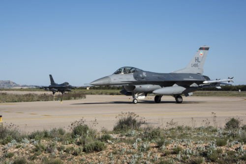 F-16 Fighting Falcons from Hill Air Force Base, Utah, taxi down the runway April 21, 2017, at Albacete Air Base, Spain, to participate in the Tactical Leadership Programme (TLP). TLP is an annual NATO Mission Commander's School training program and is designed to provide joint tactical training with NATO allies to increase NATO coordination and strengthen combined air operations. This type of training is an opportunity for Hill's active duty and Reserve Citizen Airmen to hone their operational and tactical leadership skills with Allied air forces. (U.S. Air Force Photo by/ Senior Airman Justin Fuchs)