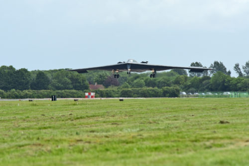 A B-2 Spirit deployed from Whiteman Air Force Base, Mo., approaches the runway at RAF Fairford, U.K., June 9, 2017. The B-2 routinely conducts bomber assurance and deterrence missions providing a flexible and vigilant long-range global strike capability, and is just one demonstration of the U.S. commitment to supporting global security. (U.S. Air Force photo by Tech. Sgt. Miguel Lara III)