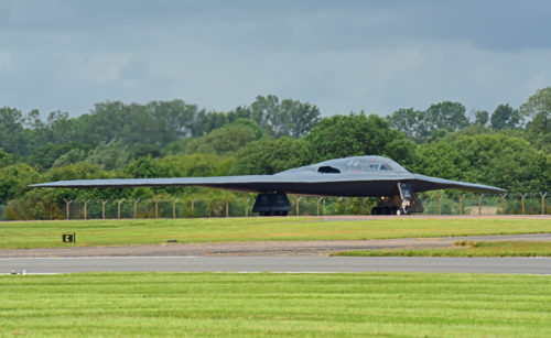 A B-2 Spirit deployed from Whiteman Air Force Base, Mo., taxis the runway at RAF Fairford, U.K., June 9, 2017. Strategic bomber missions enhance the readiness and training necessary to respond to any potential crisis or challenge across the globe. (U.S. Air Force photo by Tech. Sgt. Miguel Lara III)