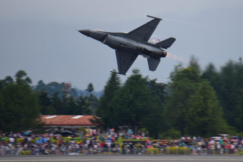 A U.S. Air Force F-16 Fighting Falcon fighter jet, assigned to the Viper East Demonstration Team from Shaw Air Force Base, participates in Feria Aeronautica Internacional—Colombia 2017 at José María Córdova International Airport in Rionegro, Colombia, July 15, 2017. The United States Air Force is participating in the four-day air show with two South Carolina Air National Guard F-16s as static displays, plus static displays of a KC-135, KC-10, along with an F-16 aerial demonstration by the Air Combat Command's Viper East Demo Team. United States military participation in the air show provides an opportunity to strengthen our military-to-military relationships with regional partners and provides the opportunity to meet with our Colombian air force counterparts and facilitate interoperability, which can be exercised in future cooperation events such as exercises and training. (U.S. Air National Guard photo by Senior Airman Megan Floyd)