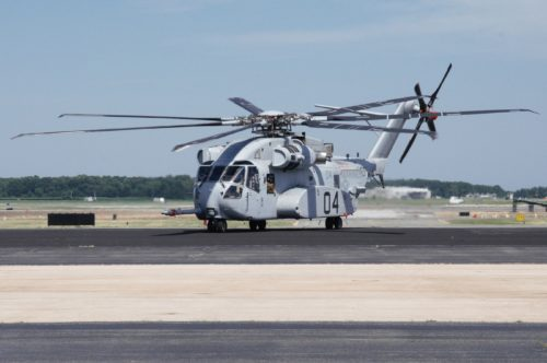 The CH-53K King Stallion arrives at Naval Air Station, Patuxent River on June 30, 2017.  Photo courtesy U.S. Navy.