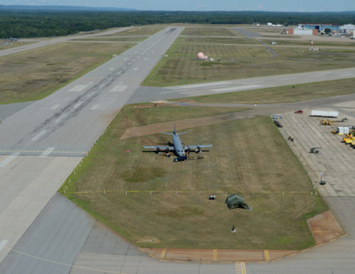 Accident Investigation of CP-140 Aurora, Aircraft 103 which happened on the air field in 14 Wing Greenwood on 27 August 2015. Flight Safety # 165804. Photo: Cpl Gerald Cormier, 14 Wing Imaging GD2015-0454-438
