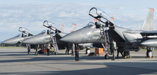 F-15E Strike Eagles belonging to the 391st Fighter Squadron sit on the flightline at Eielson Air Force Base, Idaho, August 8, 2017. Airmen from the 391st from Mountain Home Air Force Base, Idaho demonstrate their tactical prowess during Red Flag Alaska 17-3. (U.S. Air Force photo by Senior Airman Malissa Armstrong/Released)