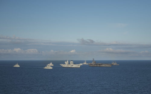 170808-N-KB401-139 ATLANTIC OCEAN (Aug. 8, 2017) Left to right, Royal Navy Duke-class frigate HMS Iron Duke (F 234), Royal Navy Duke-class frigate HMS Westminster (F 237), Royal Norwegian Navy frigate Helge Ingstad (F 313), Royal Navy aircraft carrier HMS Queen Elizabeth (R08), guided-missile destroyer USS Donald Cook (DDG 75), Nimitz-class aircraft carrier USS George H.W. Bush (CVN 77), and guided-missile cruiser USS Philippine Sea (CG 58) sail in formation during exercise Saxon Warrior 2017, Aug.8. Saxon Warrior is a United States and United Kingdom co-hosted carrier strike group exercise that demonstrates interoperability and capability to respond to crises and deter potential threats. (U.S. Navy photo by Mass Communication Specialist 2nd Class Michael B. Zingaro/Released)