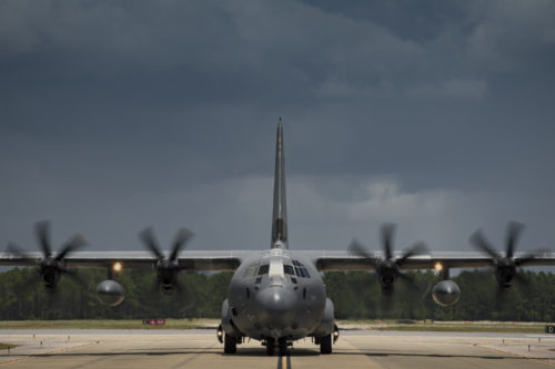 A U.S. Air Force HC-130J Combat King II assigned to the 71st Rescue Squadron taxis towards the parking ramp during Stealth Guardian, Aug. 9, 2017, at Tyndall Air Force Base, Fla. During Stealth Guardian, the 71st RQS worked alongside Airmen from the 325th Fighter Wing to provide airborne mission control and aerial refueling capabilities as well as forward area refueling and rearming points for the F-22 Raptor. (U.S. Air Force photo by Staff Sgt. Ryan Callaghan)