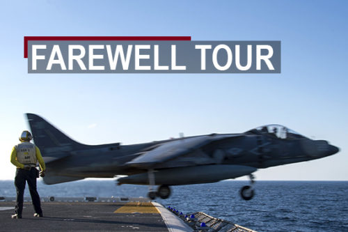 An AV-8B Harrier belonging to Marine Attack Squadron 311 launches off the end of the USS Bonhomme Richard (LHD 6), Feb. 4, 2017. VMA-311, which departed the BHR Aug. 21 after its farewell tour as part of the 31st MEU, is slated to be the final Harrier squadron to support the 31st Marine Expeditionary Unit from a forward-deployed station. The 31st MEU partners with the Navy's Amphibious Squadron 11 to form the amphibious component of the Bonhomme Richard Expeditionary Strike Group. The 31st MEU and PHIBRON 11 combine to provide a cohesive blue-green team capable of accomplishing a variety of missions across the Indo-Asia-Pacific region. (Official U.S. Marine Corps photo illustration by Petty Officer 2nd Class Diana Quinlan and Staff Sgt. T. T. Parish/Released)