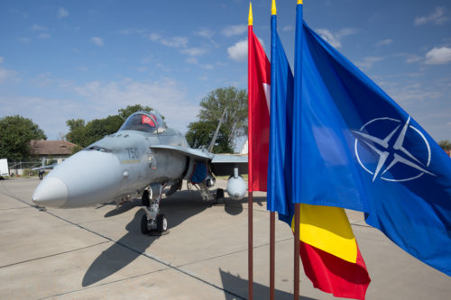 31 August 2017, Mihail Kogalniceanu Air Base, Romaina - The Royal Canadian Air Force commences their enhanced Air Policing Mission as part of NATO's Assurance Measures to Romania. A Royal Canadian Air Force CF-18. Photo: Christian Timmig, HQ AIRCOM PA