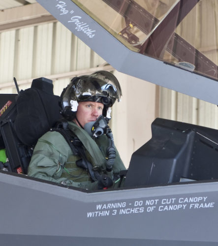 "AF-1 Flt; Capt Eric ""DOC"" Schultz; First F-35 Flight; Pre-flt & Hosedown; F-35 ITF Edwards AFB; Ca.; 15 September 2011"