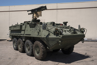 Raytheon adapted the Stinger missile's air-to-air launch system to fire from a Stryker armored vehicle for a U.S. Army demonstration in September 2017. (PRNewsfoto/Raytheon Company)