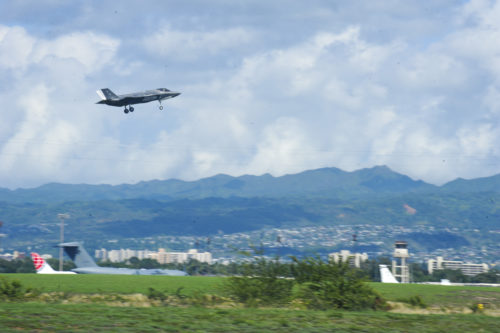 A U.S. Air Force F-35A Lightning II, deployed from Hill Air Force Base, Utah, prepares to land at Joint Base Pearl Harbor-Hickam, Hawaii, Oct. 30, 2017. A dozen F-35As and approximately 300 Airmen are on their way to Kadena Air Base, Japan, deployed under U.S. Pacific Command's (PACOM) Theater Security Package program, which has been in operation since 2004. This marks PACOM's first operational tasking for the F-35A and builds upon the successful debut of the fifth-generation stealth fighter in the Indo-Asia-Pacific region at the Seoul International Aerospace & Defense Exhibition earlier this month. (U.S. Air Force photo by Staff Sgt. Jack Sanders)