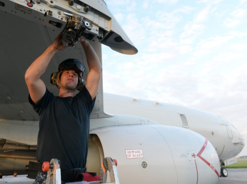 OKINAWA, Japan (Oct. 31, 2017) Aviation Ordnanceman 2nd Class James Simmons, assigned to Patrol Squadron (VP) 8, performs a P-8A Poseidon aircraft inspection prior to an AGM-84D Harpoon missile onload at Kadena Air Base, Japan. VP-8 is currently deployed to the U.S. 7th Fleet area of responsibility conducting Intelligence, Surveillance, and Reconnaissance (ISR) and Anti-Submarine Warfare (ASW) missions, as well as providing maritime domain awareness to theater-level commanders. (U.S. Navy photo by Petty Officer 1st Class Jerome D. Johnson /Released)