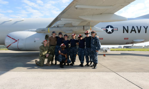 OKINAWA, Japan (Oct. 31, 2017) Sailors assigned to Patrol Squadron (VP) 8 take a group photograph in front of a P-8A Poseidon aircraft at Kadena Air Base, Japan. VP-8 is currently deployed to the U.S. 7th Fleet area of responsibility conducting Intelligence, Surveillance, and Reconnaissance (ISR) and Anti-Submarine Warfare (ASW) missions, as well as providing maritime domain awareness to theater-level commanders. (U.S. Navy photo by Petty Officer 1st Class Jerome D. Johnson /Released)
