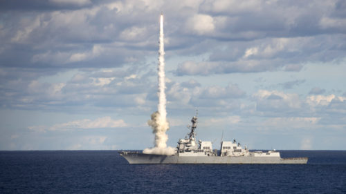 171101-N-OX889-051  ATLANTIC OCEAN (Nov. 1, 2017) The guided-missile destroyer USS Jason Dunham (DDG 109) launches a SM-2 missile during a live-fire exercise. Jason Dunham is underway with the Harry S. Truman Carrier Strike Group preparing for future operations. (U.S. Navy photo by Mass Communication Specialist 3rd Zachary Van Nuys/Released)