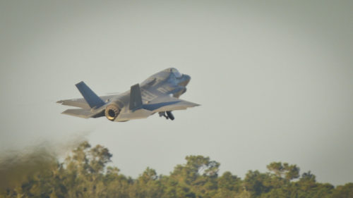 An F-35B Lightning II Joint Strike Fighter takes off from Marine Corps Air Station Beaufort, Nov. 6. The Airborne Tactical Advantage Company is training with Marine Fighter Attack Training Squadron 501 for the next two weeks to support new and transition pilots in their certification for the F-35B. The pilot is with VMFAT-501, Marine Aircraft Group 31.